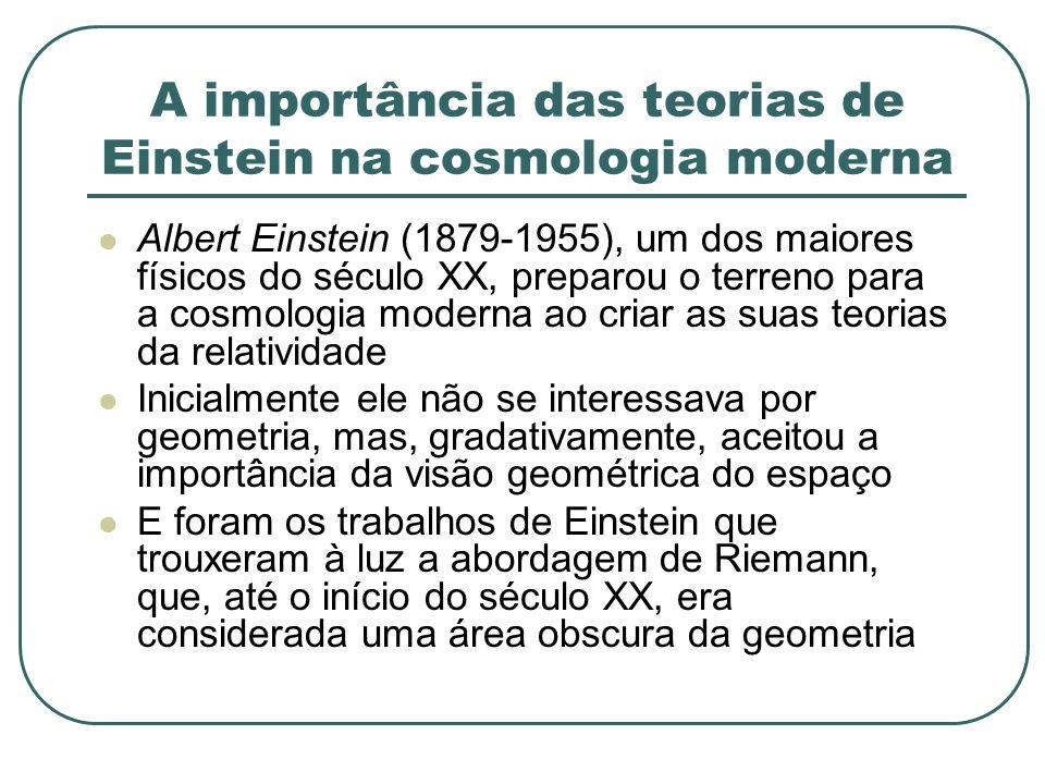 A importância das teorias de Einstein na cosmologia moderna Albert Einstein (1879-1955), um dos maiores físicos do século XX, preparou o terreno para