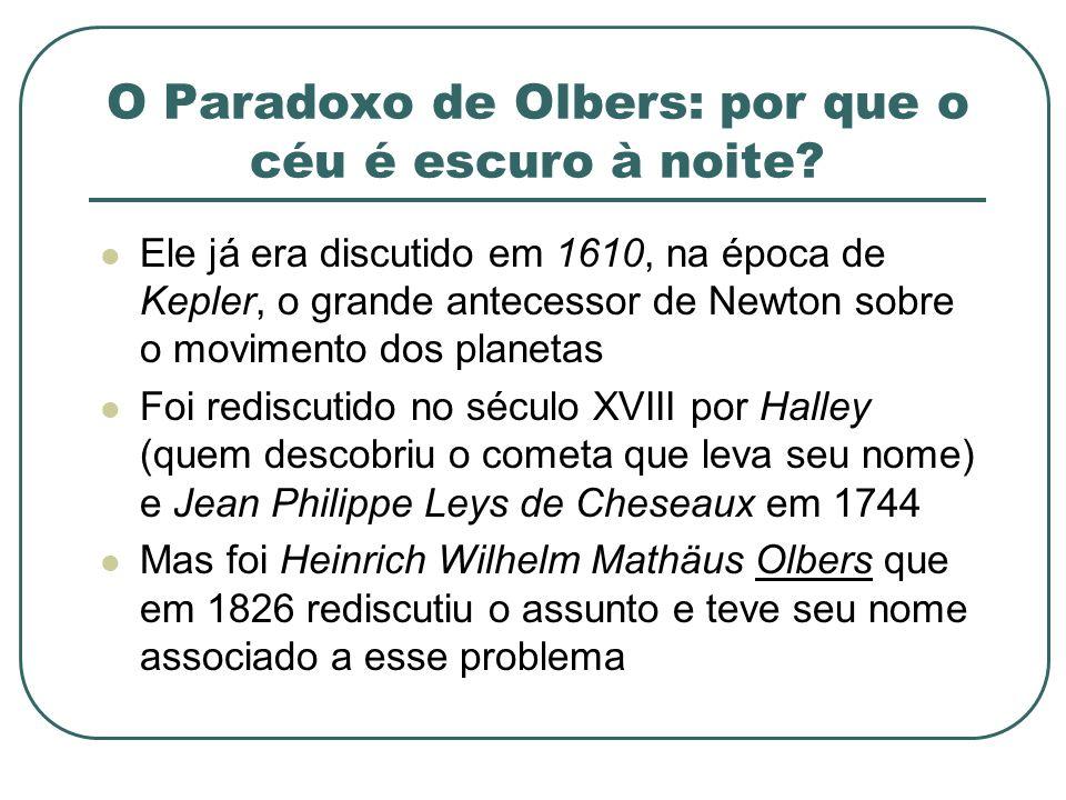 O Paradoxo de Olbers: por que o céu é escuro à noite? Ele já era discutido em 1610, na época de Kepler, o grande antecessor de Newton sobre o moviment