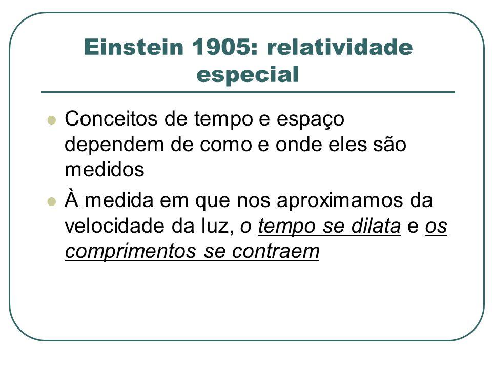 Einstein 1905: relatividade especial Conceitos de tempo e espaço dependem de como e onde eles são medidos À medida em que nos aproximamos da velocidad