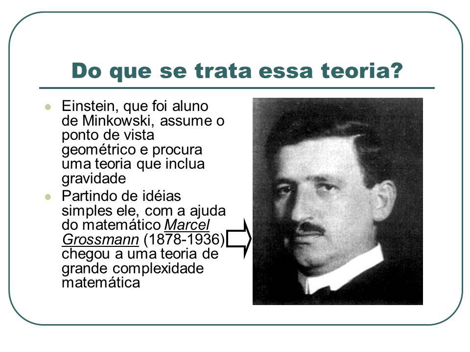 Do que se trata essa teoria? Einstein, que foi aluno de Minkowski, assume o ponto de vista geométrico e procura uma teoria que inclua gravidade Partin