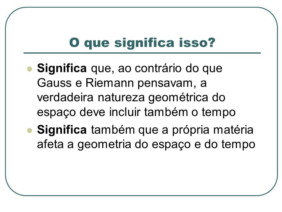 O que significa isso? Significa que, ao contrário do que Gauss e Riemann pensavam, a verdadeira natureza geométrica do espaço deve incluir também o te