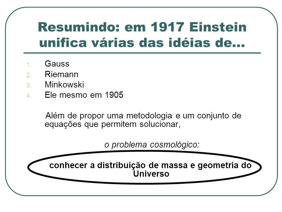 Resumindo: em 1917 Einstein unifica várias das idéias de... 1. Gauss 2. Riemann 3. Minkowski 4. Ele mesmo em 1905 Além de propor uma metodologia e um