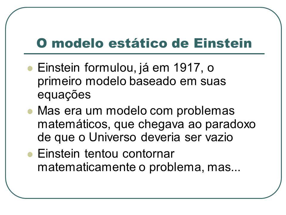 O modelo estático de Einstein Einstein formulou, já em 1917, o primeiro modelo baseado em suas equações Mas era um modelo com problemas matemáticos, q