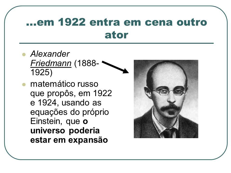...em 1922 entra em cena outro ator Alexander Friedmann (1888- 1925) matemático russo que propôs, em 1922 e 1924, usando as equações do próprio Einste