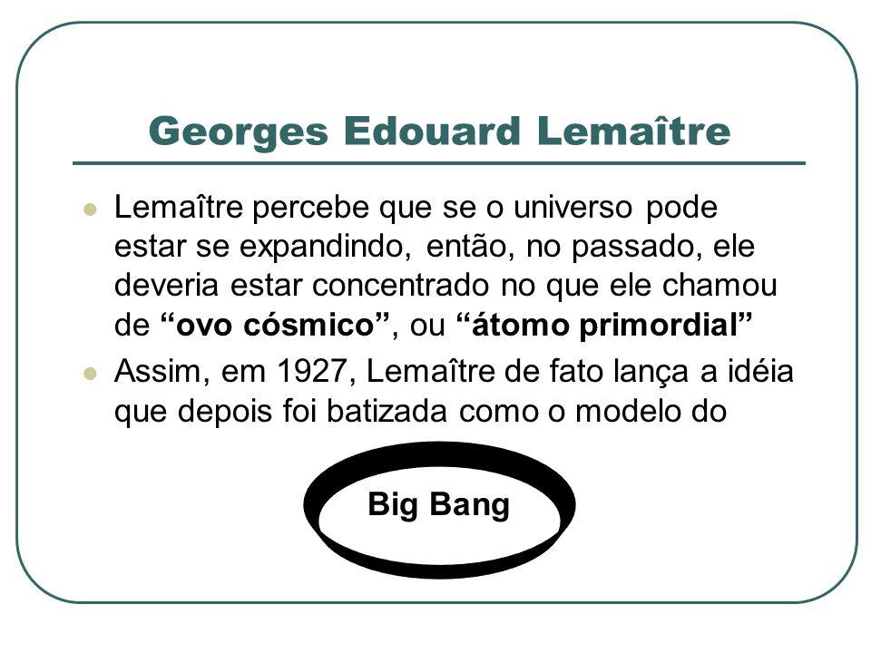 Georges Edouard Lemaître Lemaître percebe que se o universo pode estar se expandindo, então, no passado, ele deveria estar concentrado no que ele cham
