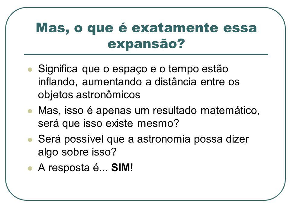 Mas, o que é exatamente essa expansão? Significa que o espaço e o tempo estão inflando, aumentando a distância entre os objetos astronômicos Mas, isso