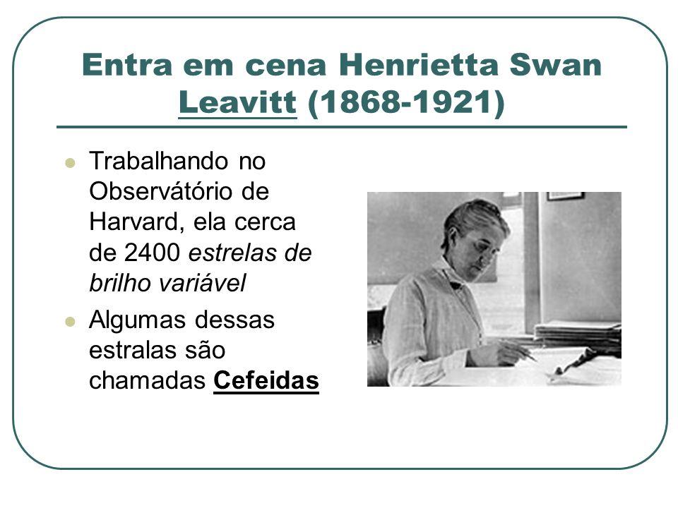 Entra em cena Henrietta Swan Leavitt (1868-1921) Trabalhando no Observátório de Harvard, ela cerca de 2400 estrelas de brilho variável Algumas dessas