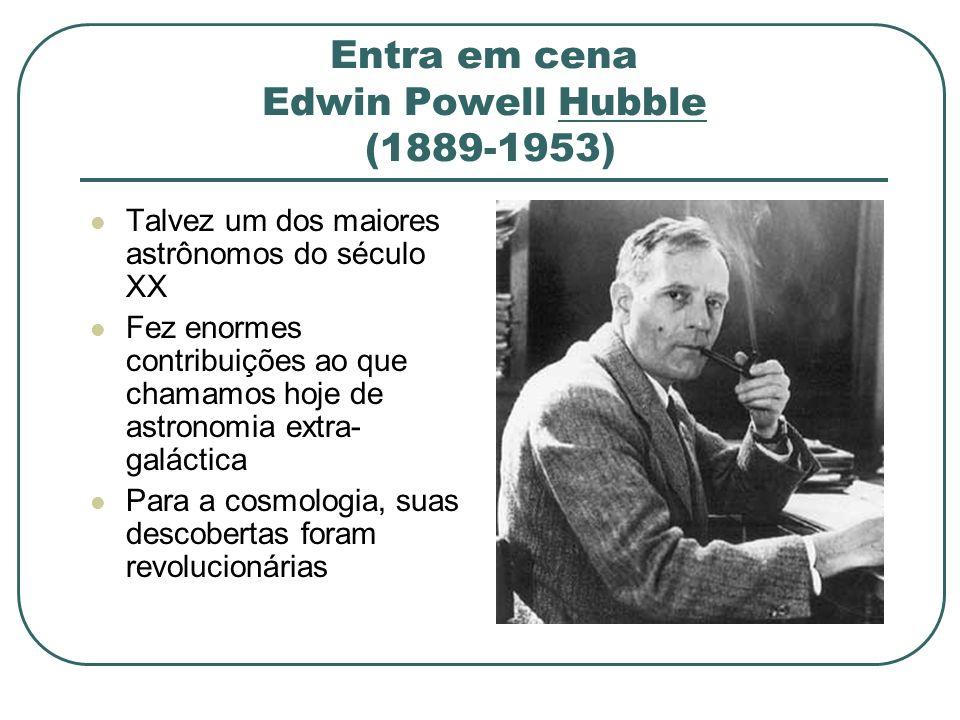 Entra em cena Edwin Powell Hubble (1889-1953) Talvez um dos maiores astrônomos do século XX Fez enormes contribuições ao que chamamos hoje de astronom