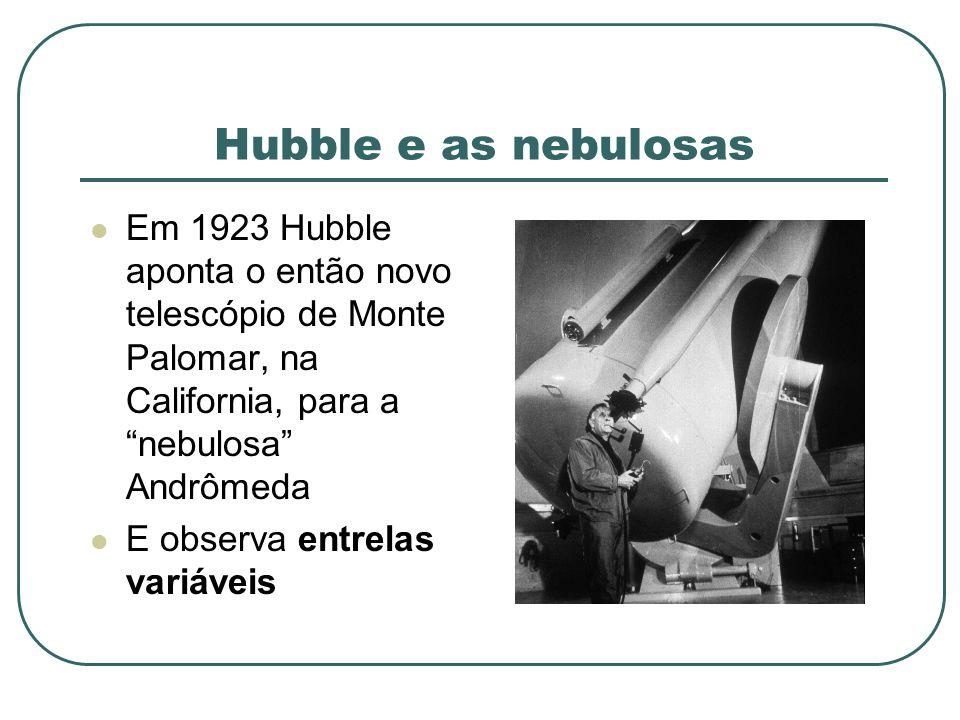 Hubble e as nebulosas Em 1923 Hubble aponta o então novo telescópio de Monte Palomar, na California, para a nebulosa Andrômeda E observa entrelas vari