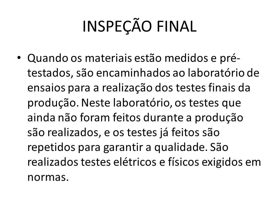 INSPEÇÃO FINAL Quando os materiais estão medidos e pré- testados, são encaminhados ao laboratório de ensaios para a realização dos testes finais da pr