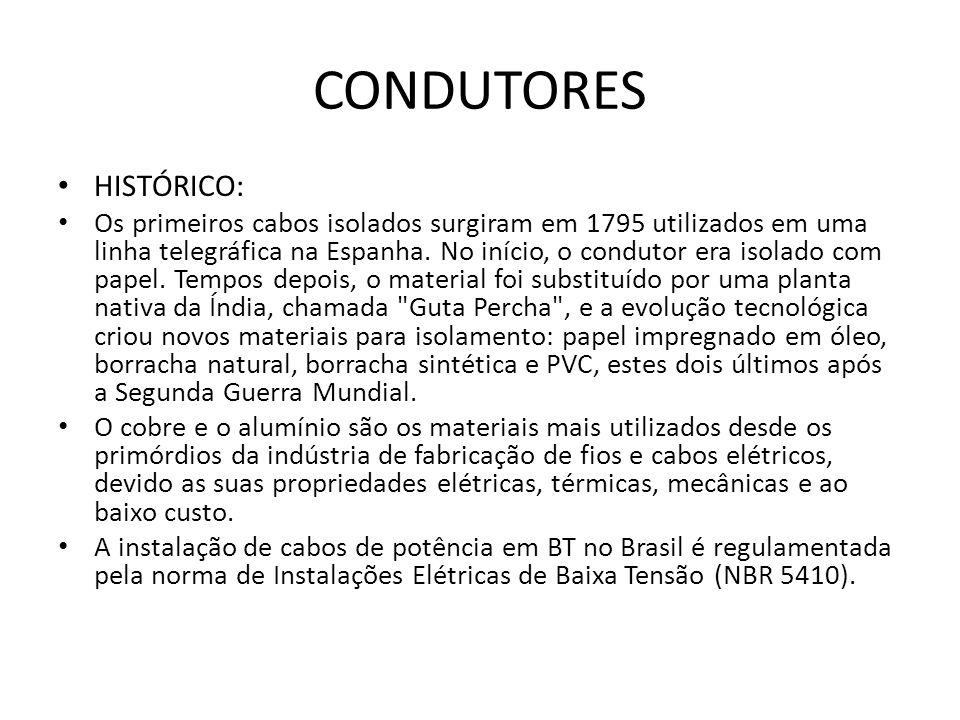 CONDUTORES HISTÓRICO: Os primeiros cabos isolados surgiram em 1795 utilizados em uma linha telegráfica na Espanha. No início, o condutor era isolado c