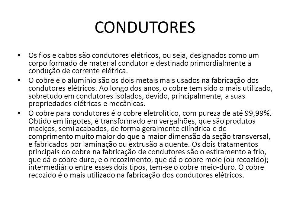 CONDUTORES Os fios e cabos são condutores elétricos, ou seja, designados como um corpo formado de material condutor e destinado primordialmente à cond