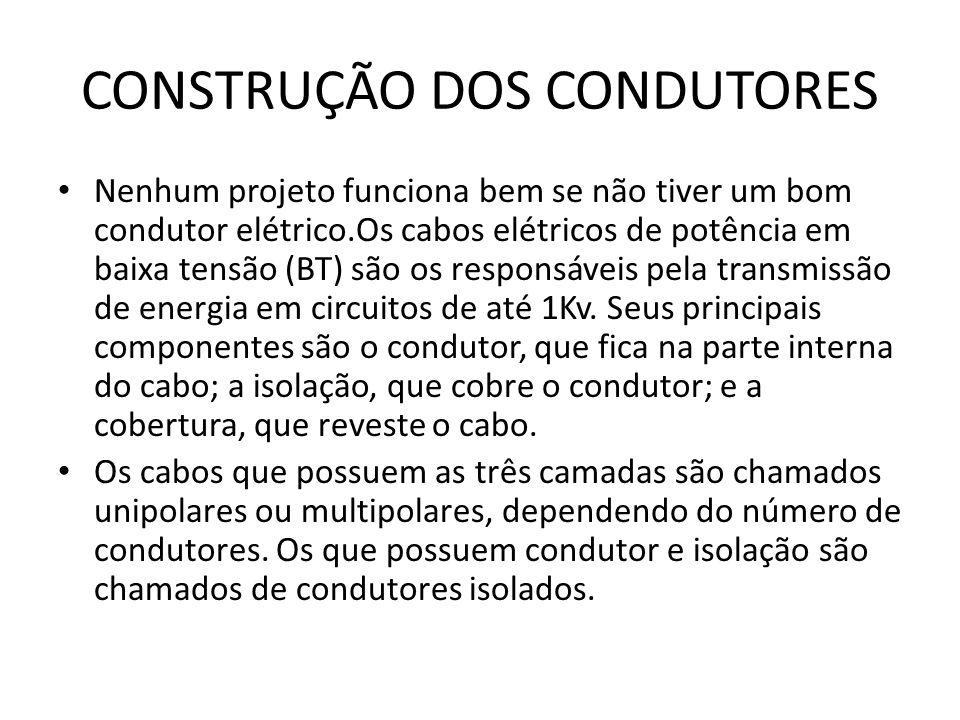 CONSTRUÇÃO DOS CONDUTORES Nenhum projeto funciona bem se não tiver um bom condutor elétrico.Os cabos elétricos de potência em baixa tensão (BT) são os