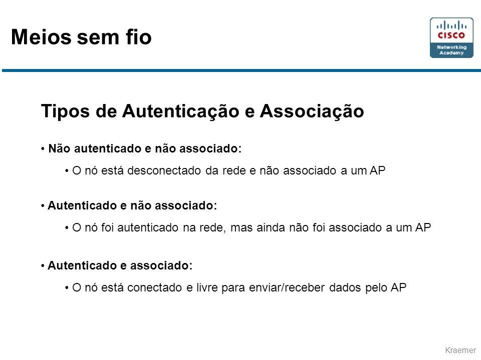 Kraemer Tipos de Autenticação e Associação Não autenticado e não associado: O nó está desconectado da rede e não associado a um AP Autenticado e não associado: O nó foi autenticado na rede, mas ainda não foi associado a um AP Autenticado e associado: O nó está conectado e livre para enviar/receber dados pelo AP Meios sem fio