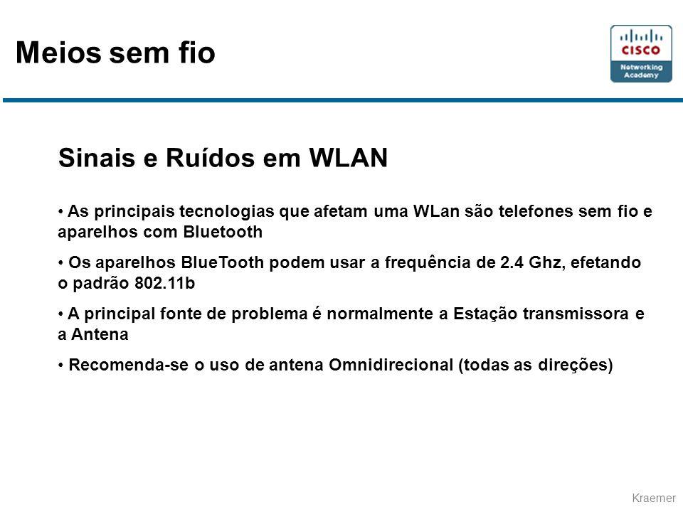 Kraemer Sinais e Ruídos em WLAN As principais tecnologias que afetam uma WLan são telefones sem fio e aparelhos com Bluetooth Os aparelhos BlueTooth podem usar a frequência de 2.4 Ghz, efetando o padrão 802.11b A principal fonte de problema é normalmente a Estação transmissora e a Antena Recomenda-se o uso de antena Omnidirecional (todas as direções) Meios sem fio