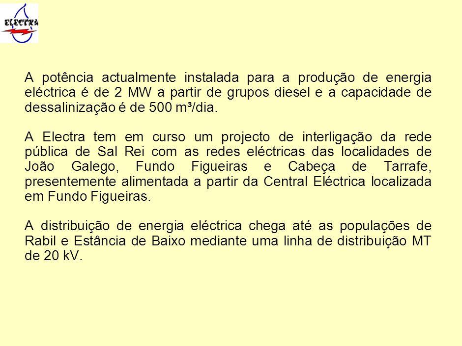 A potência actualmente instalada para a produção de energia eléctrica é de 2 MW a partir de grupos diesel e a capacidade de dessalinização é de 500 m³
