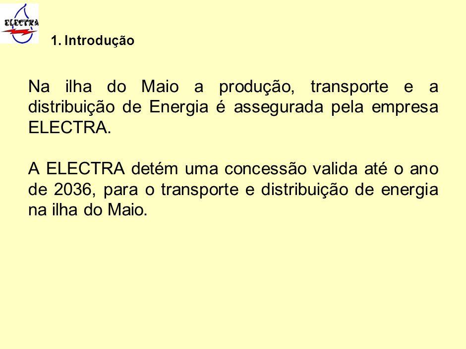 1. Introdução Na ilha do Maio a produção, transporte e a distribuição de Energia é assegurada pela empresa ELECTRA. A ELECTRA detém uma concessão vali