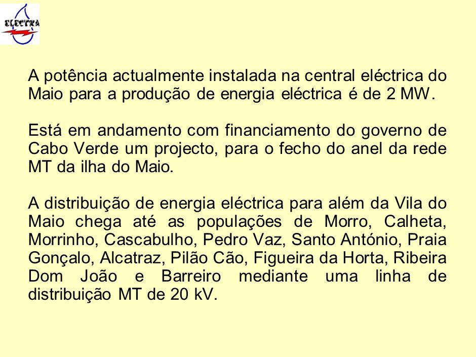A potência actualmente instalada na central eléctrica do Maio para a produção de energia eléctrica é de 2 MW. Está em andamento com financiamento do g