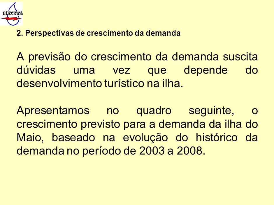 2. Perspectivas de crescimento da demanda A previsão do crescimento da demanda suscita dúvidas uma vez que depende do desenvolvimento turístico na ilh