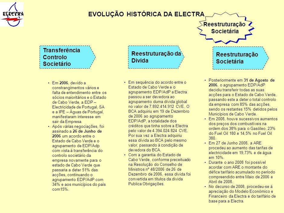Em 2006, devido a constrangimentos vários e falta de entendimento entre os sócios maioritários e o Estado de Cabo Verde, a EDP – Electricidade de Port