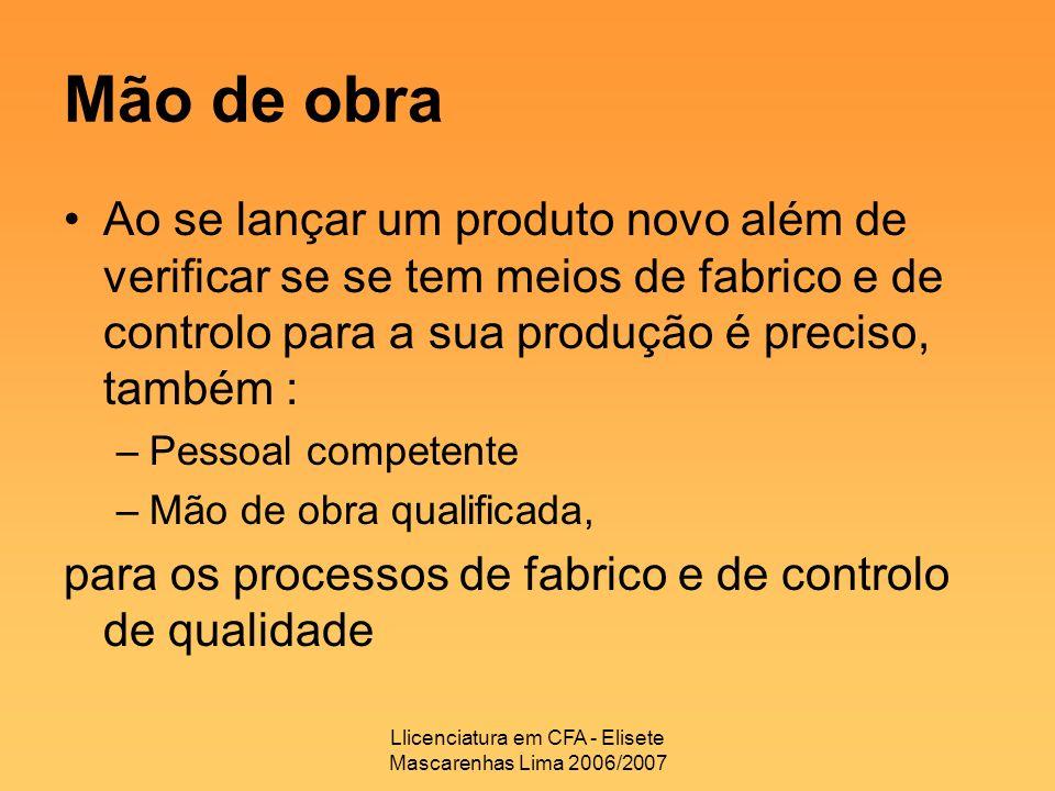 Llicenciatura em CFA - Elisete Mascarenhas Lima 2006/2007 Mão de obra Ao se lançar um produto novo além de verificar se se tem meios de fabrico e de c