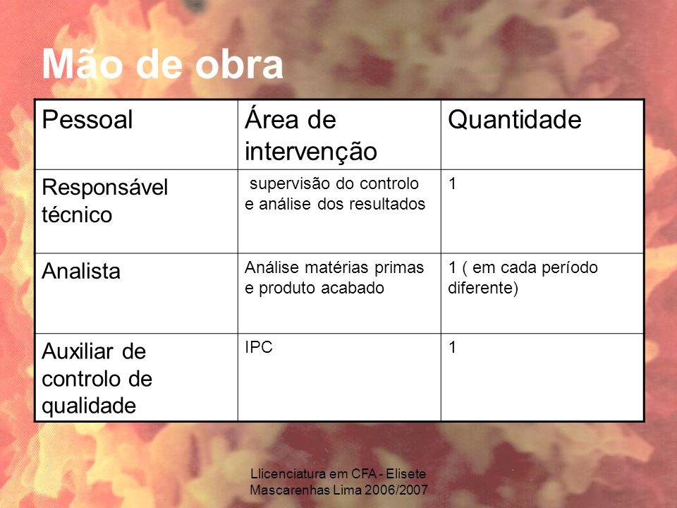 Llicenciatura em CFA - Elisete Mascarenhas Lima 2006/2007 Mão de obra PessoalÁrea de intervenção Quantidade Responsável técnico supervisão do controlo