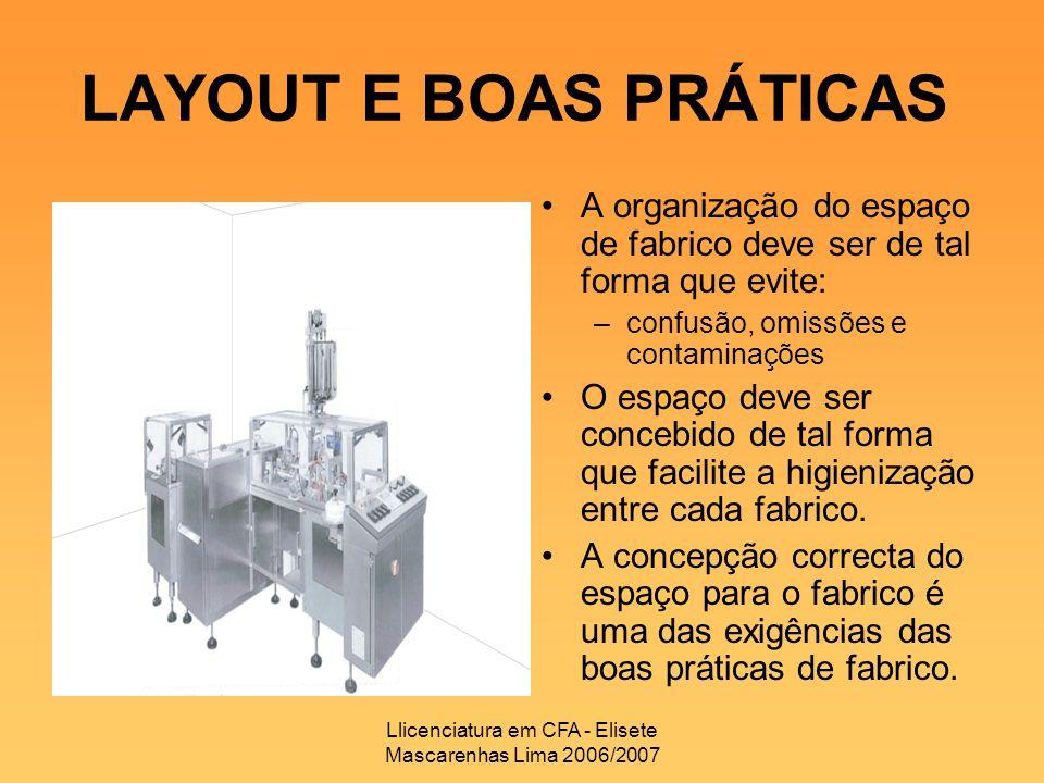 Llicenciatura em CFA - Elisete Mascarenhas Lima 2006/2007 LAYOUT E BOAS PRÁTICAS A organização do espaço de fabrico deve ser de tal forma que evite: –