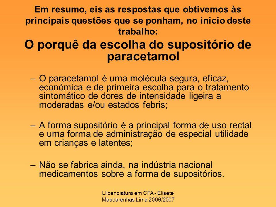 Llicenciatura em CFA - Elisete Mascarenhas Lima 2006/2007 O porquê da escolha do supositório de paracetamol –O paracetamol é uma molécula segura, efic