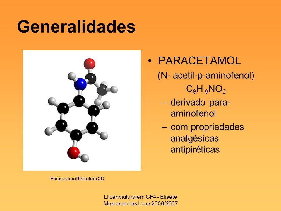 Llicenciatura em CFA - Elisete Mascarenhas Lima 2006/2007 Generalidades PARACETAMOL (N- acetil-p-aminofenol) C 8 H 9 NO 2 –derivado para- aminofenol –