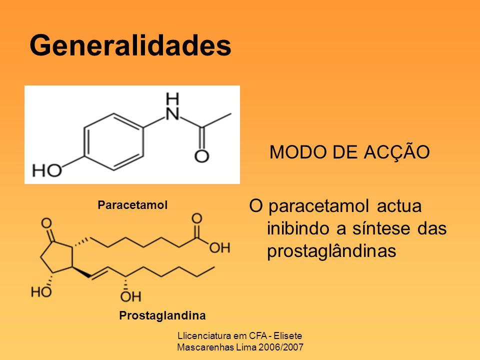 Llicenciatura em CFA - Elisete Mascarenhas Lima 2006/2007 Generalidades MODO DE ACÇÃO O paracetamol actua inibindo a síntese das prostaglândinas Parac