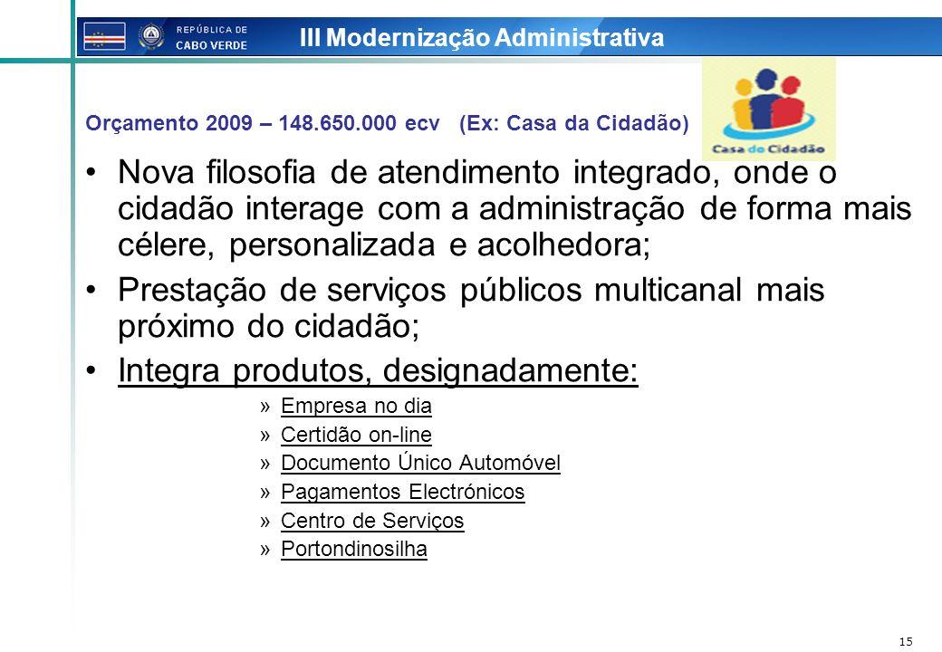 15 III Modernização Administrativa Nova filosofia de atendimento integrado, onde o cidadão interage com a administração de forma mais célere, personal