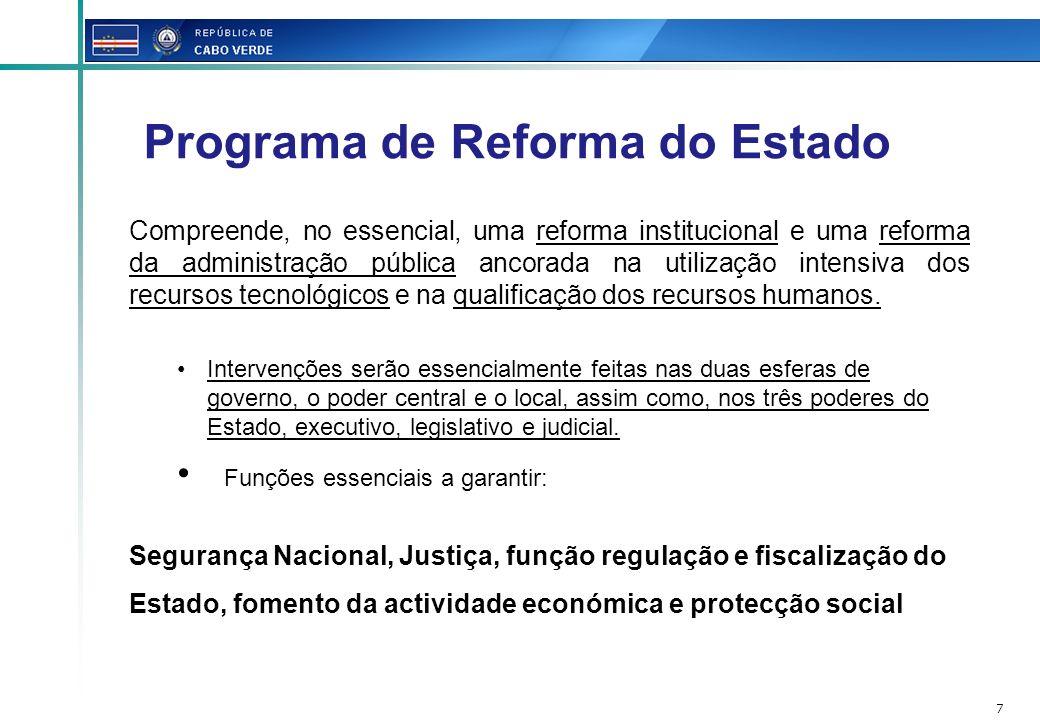 7 Programa de Reforma do Estado Compreende, no essencial, uma reforma institucional e uma reforma da administração pública ancorada na utilização inte