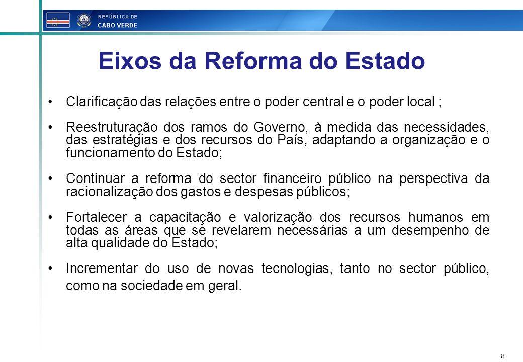 8 Eixos da Reforma do Estado Clarificação das relações entre o poder central e o poder local ; Reestruturação dos ramos do Governo, à medida das neces