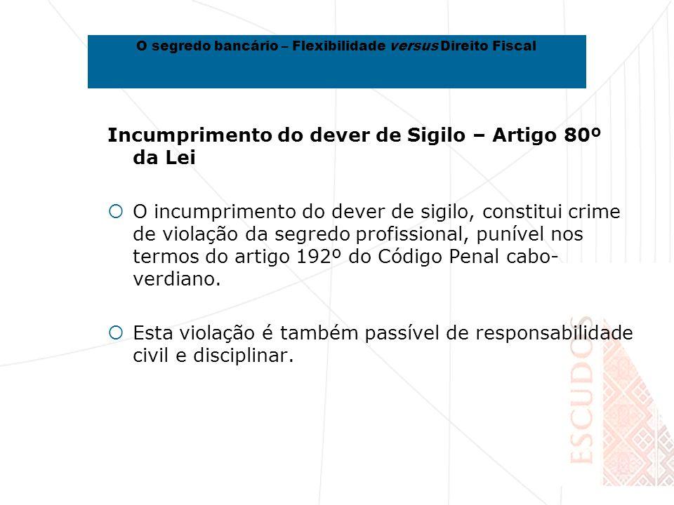 Incumprimento do dever de Sigilo – Artigo 80º da Lei O incumprimento do dever de sigilo, constitui crime de violação da segredo profissional, punível nos termos do artigo 192º do Código Penal cabo- verdiano.