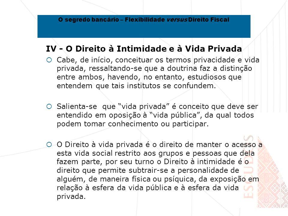 IV - O Direito à Intimidade e à Vida Privada Cabe, de início, conceituar os termos privacidade e vida privada, ressaltando-se que a doutrina faz a distinção entre ambos, havendo, no entanto, estudiosos que entendem que tais institutos se confundem.