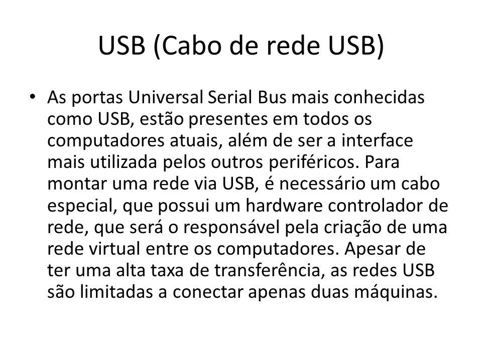 USB (Cabo de rede USB) As portas Universal Serial Bus mais conhecidas como USB, estão presentes em todos os computadores atuais, além de ser a interface mais utilizada pelos outros periféricos.