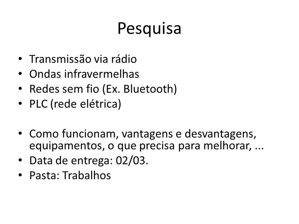 Pesquisa Transmissão via rádio Ondas infravermelhas Redes sem fio (Ex. Bluetooth) PLC (rede elétrica) Como funcionam, vantagens e desvantagens, equipa