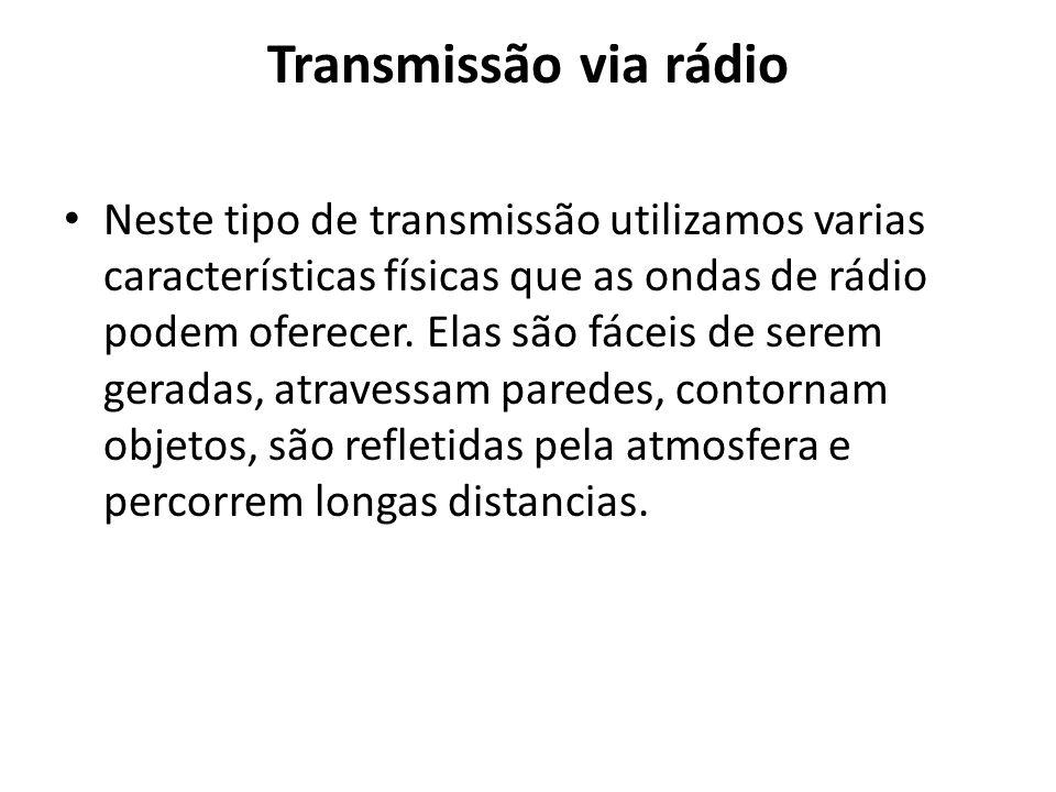 Transmissão via rádio Neste tipo de transmissão utilizamos varias características físicas que as ondas de rádio podem oferecer. Elas são fáceis de ser