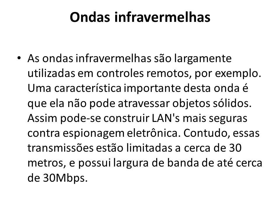 Ondas infravermelhas As ondas infravermelhas são largamente utilizadas em controles remotos, por exemplo. Uma característica importante desta onda é q
