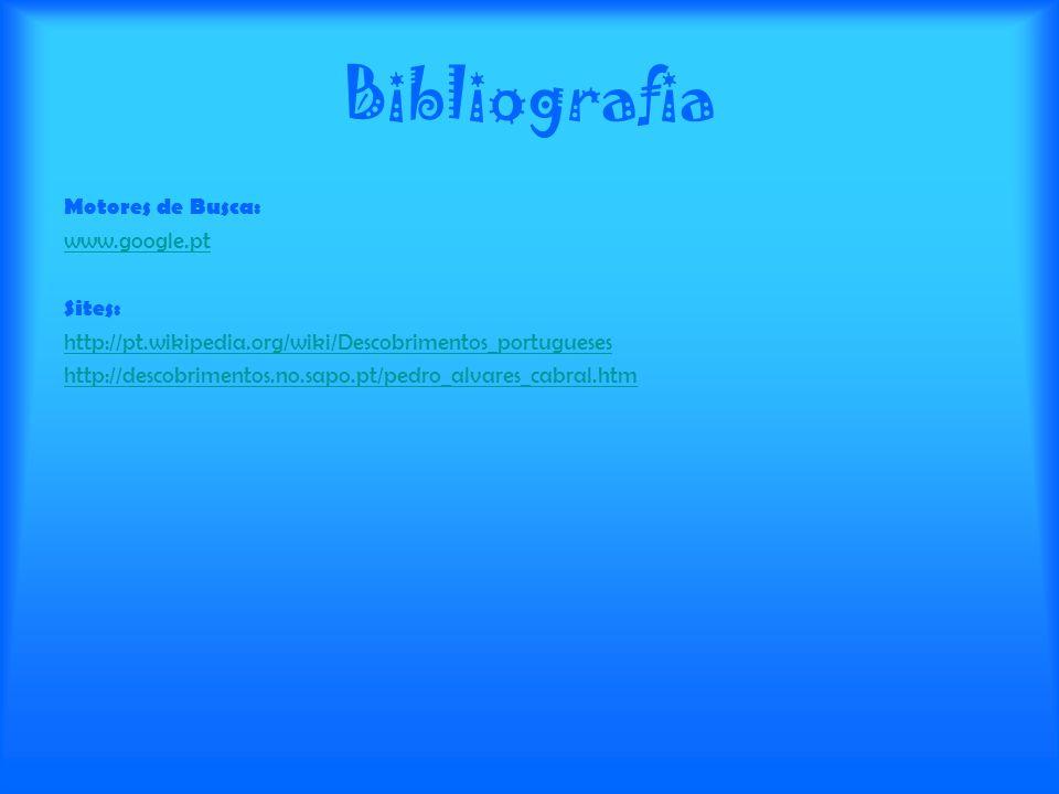 Bibliografia Motores de Busca: www.google.pt Sites: http://pt.wikipedia.org/wiki/Descobrimentos_portugueses http://descobrimentos.no.sapo.pt/pedro_alv