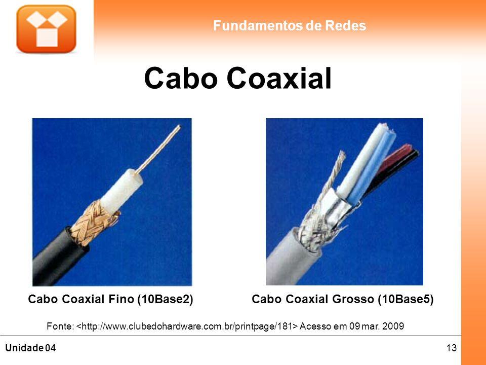 13Unidade 04 Fundamentos de Redes Cabo Coaxial Cabo Coaxial Fino (10Base2) Fonte: Acesso em 09 mar. 2009 Cabo Coaxial Grosso (10Base5)