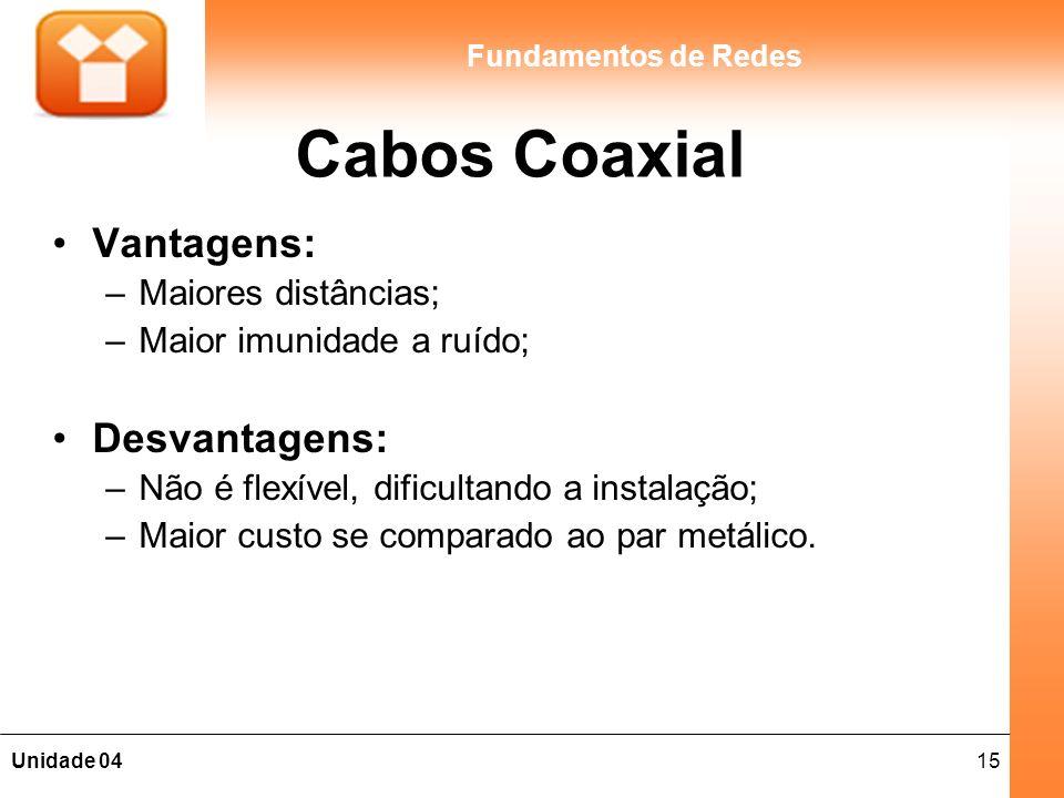 15Unidade 04 Fundamentos de Redes Cabos Coaxial Vantagens: –Maiores distâncias; –Maior imunidade a ruído; Desvantagens: –Não é flexível, dificultando