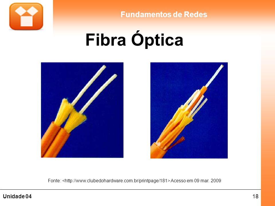 18Unidade 04 Fundamentos de Redes Fibra Óptica Fonte: Acesso em 09 mar. 2009