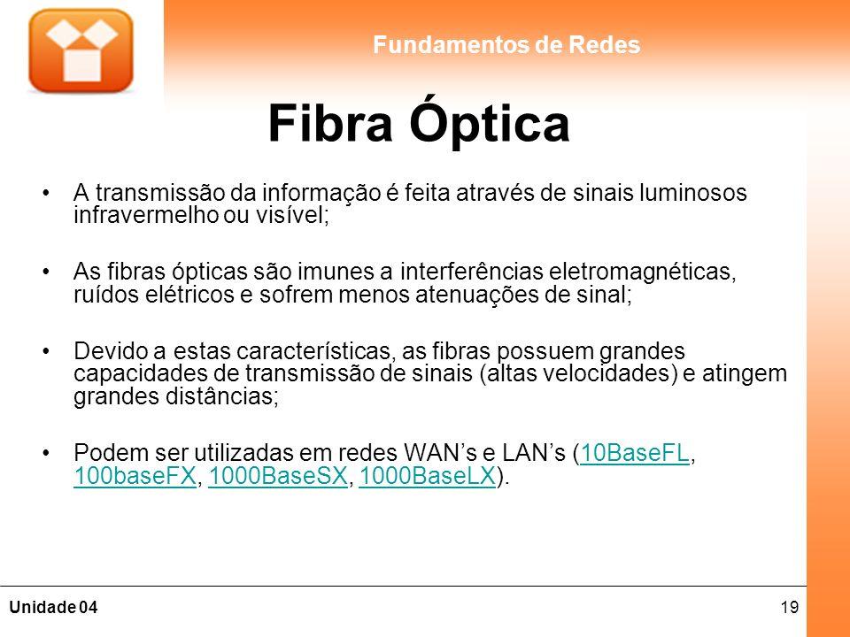 19Unidade 04 Fundamentos de Redes Fibra Óptica A transmissão da informação é feita através de sinais luminosos infravermelho ou visível; As fibras ópt