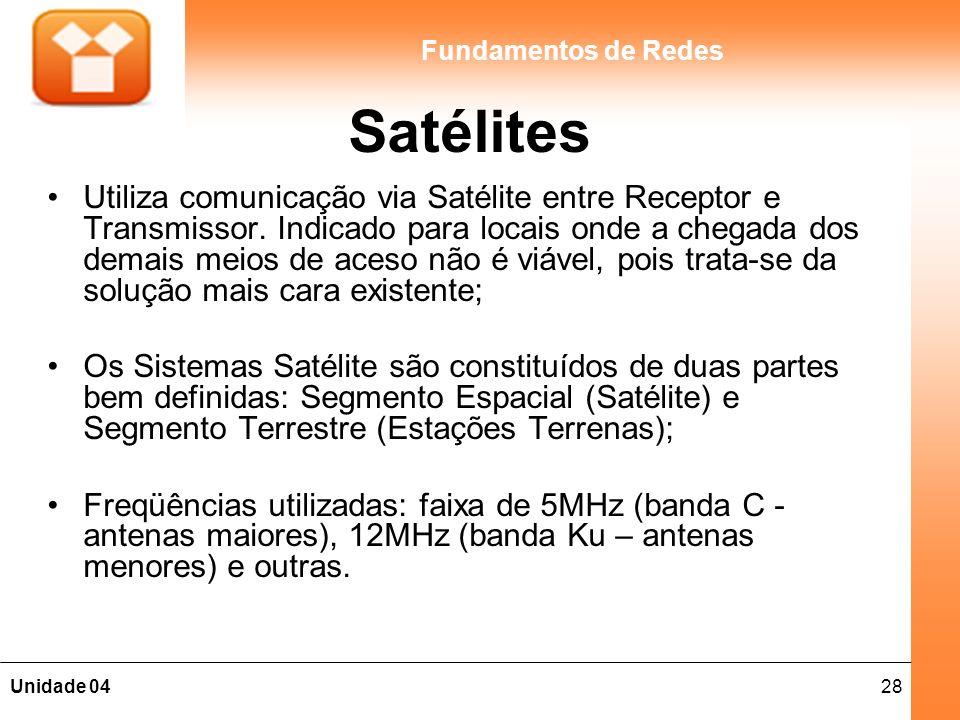 28Unidade 04 Fundamentos de Redes Satélites Utiliza comunicação via Satélite entre Receptor e Transmissor. Indicado para locais onde a chegada dos dem