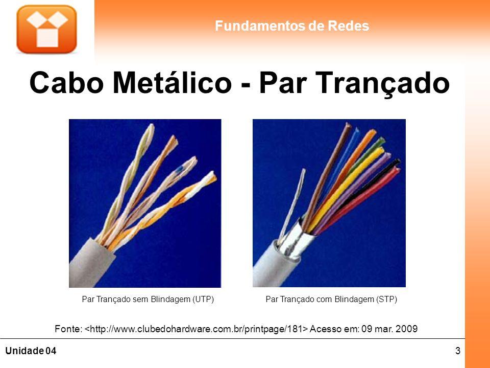 4Unidade 04 Fundamentos de Redes Cabo Metálico - Par Trançado São dois fios enrolados em espiral, de forma a reduzir o ruído e manter constante as propriedades elétricas do meio, por todo o seu comprimento; Os tipos mais usuais em redes LANs são: –Cabo sem blindagem (UTP – Unshielded Twisted Pair); –Cabo com blindagem (STP – Shielded Twisted Pair); São utilizados em Redes LANs 100baseT / 10BaseT (onde T significa trançado); Utilizado também em redes externas para conexões telefônicas ou de última milha de redes WAN (última milha ou Last Mile é a conexão do cliente ao ponto de presença da empresa de telefonia mais próxima).