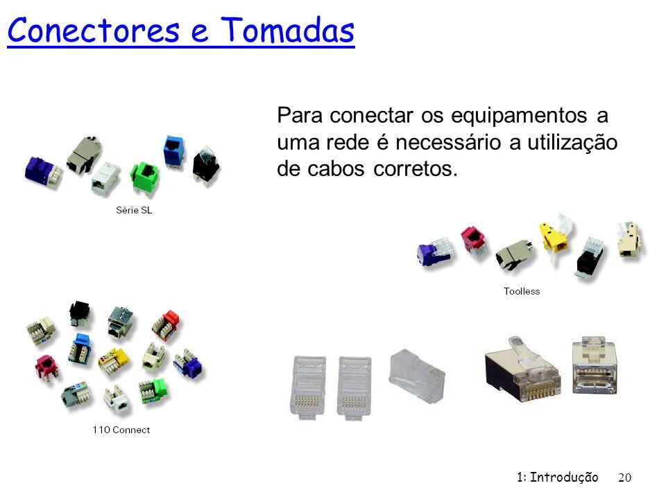 1: Introdução 20 Para conectar os equipamentos a uma rede é necessário a utilização de cabos corretos. Conectores e Tomadas