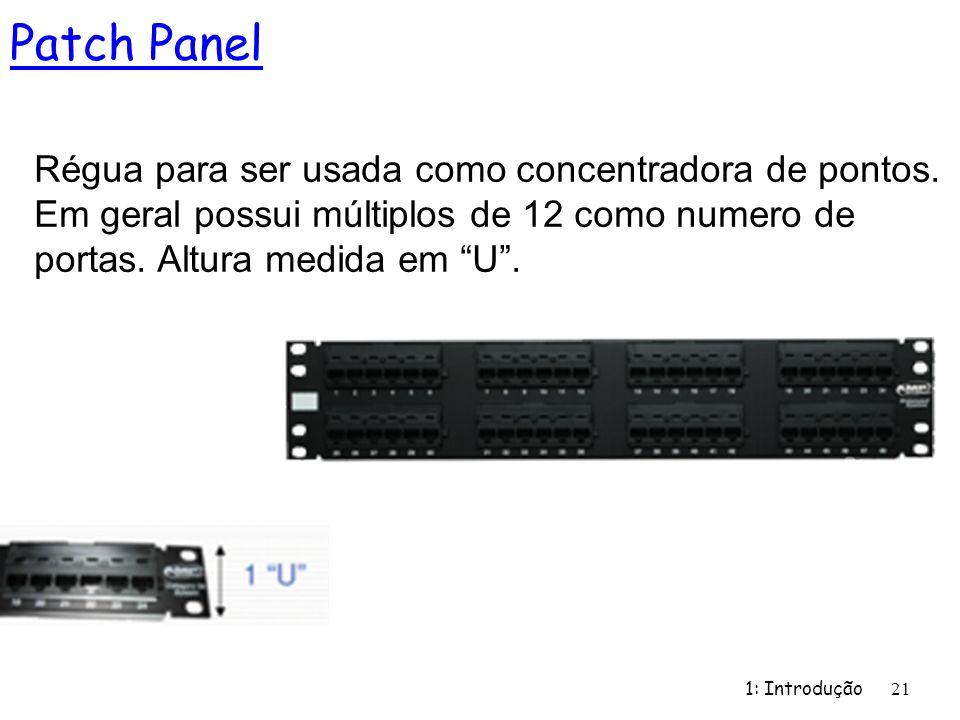 1: Introdução 21 Patch Panel Régua para ser usada como concentradora de pontos. Em geral possui múltiplos de 12 como numero de portas. Altura medida e