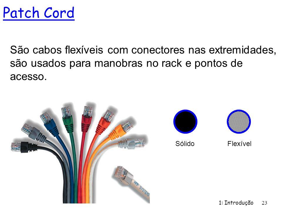 1: Introdução 23 Patch Cord São cabos flexíveis com conectores nas extremidades, são usados para manobras no rack e pontos de acesso. Sólido Flexível