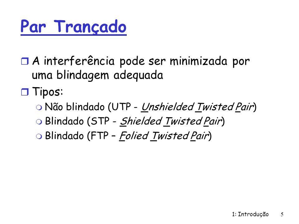 1: Introdução 5 Par Trançado r A interferência pode ser minimizada por uma blindagem adequada r Tipos: m Não blindado (UTP - Unshielded Twisted Pair)